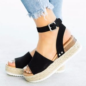Shoes - HELLO SPRING Comfy Wedges - BLACK